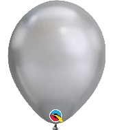"11"" Chrome Silver 25 Count Qualatex Latex Balloons"
