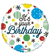 "18"" It&#39s Your Birthday Dots Foil Balloon"