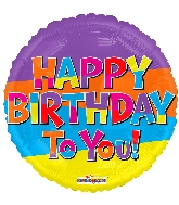 "18"" Happy Birthday To You Lines Foil Balloon"