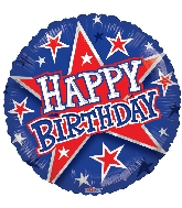"18"" Birthday Red & Blue Stars Foil Balloon"