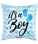 "18"" It&#39s A Boy Chevron Foil Balloon"