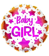 "18"" Baby Girl Stars Foil Balloon"