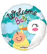 "18"" Welcome Baby Stork Foil Balloon"
