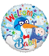 "18"" Welcome Boy Stork Foil Balloon"