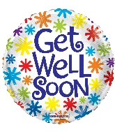 "18"" Get Well Asterisks Foil Balloon"
