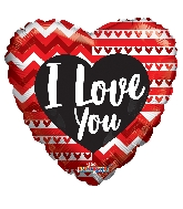 "18"" Love You Lines & Hearts Foil Balloon"