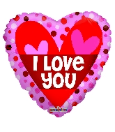 "18"" Love You Two Hearts Foil Balloon"