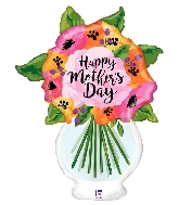 "37"" Clear Shape Mother&#39s Day Vase Foil Balloon"