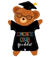 "47"" Shape Congrats Grad Bear Foil Balloon"