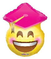"18"" Smiley Graduada Rosa Foil Balloon"
