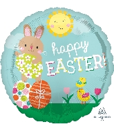 "18"" Happy Easter Bunny & Chicks Foil Balloon"