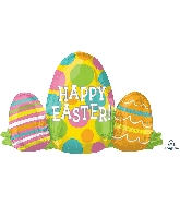 "29"" Happy Easter Egg Trio SuperShape™ XL® Foil Balloon"
