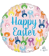 "18"" Happy Easter Cute Bunny Faces Foil Balloon"