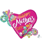 "32"" Happy Mother&#39s Day Paisley Swirls Foil Balloon"
