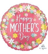 "18"" Happy Mother's Day Floral Wreath Foil Balloon"