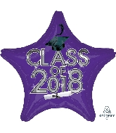 "18"" Class of 2018 - Purple Star Shape Foil Balloon"