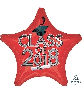 "18"" Class of 2018 - Red Star Shape Foil Balloon"