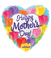 "18"" Happy Mother&#39s Day Bright Tulips Foil Balloon"