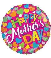 "18"" Happy Mother&#39s Day Clolorful Hearts Foil Balloon"