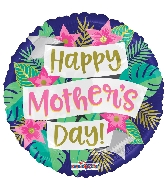 "18"" Happy Mother&#39s Day Banner & Flowers Foil Balloon"
