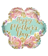 "18"" Happy Mother's Day Flowers Gold Letters Foil Balloon"