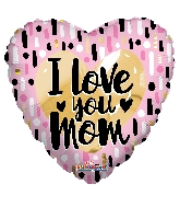 "9"" Airfill Only I Love You Mom Gold & Pink Foil Balloon"