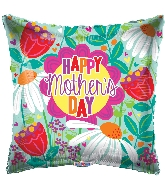 "18"" Happy Mother&#39s Day Tulips & Daisies Foil Balloon"