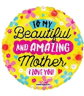 "18"" Amazing Mother I Love You Foil Balloon"