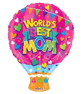 "18"" World &#39s Best Mom Shape GelliBean Foil Balloon"