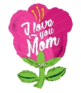 "28"" I Love You Mom Tulip Shape GelliBean Foil Balloon"