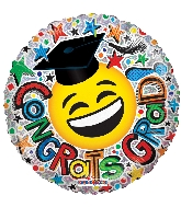 "9"" Airfill Only Congrats Grad Smiley Ho Foil Balloon"