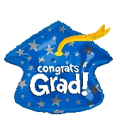 "18"" Blue Grad Cap Shape Foil Balloon"