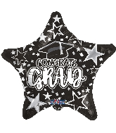 "18"" Grad Star Black Foil Balloon"