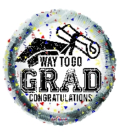"18"" Way To Go Grad Confetti Foil Balloon"