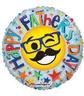 "9"" Airfill Only Happy Father&#39s Day Smiley Foil Balloon"