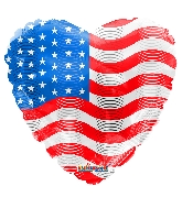 "18"" Usa Flag On Heart Foil Balloon"