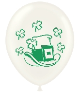 "11"" St Patricks&#39s Day Hat & Shamrock Latex Balloons 100 CT"