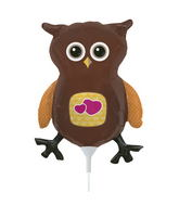 "14"" Owl Airfill Balloon Includes Cup and Stick."