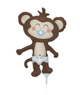 "14"" Baby Boy Monkey Airfill Balloon Includes Cup and Stick."