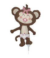 "14"" Girl Monkey Airfill Balloon Includes Cup and Stick."
