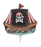 "14"" Pirate Ship Airfill Balloon Includes Cup and Stick."