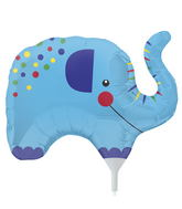 "14"" Little Elephant Airfill Balloon Includes Cup and Stick."