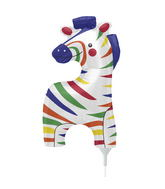 "14"" Wee Zebra Airfill Balloon Includes Cup and Stick."
