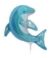 "14"" Blue Dolphin Airfill Balloon Includes Cup and Stick."