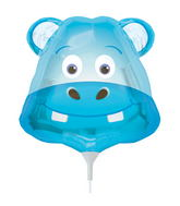 "14"" Happy Hippo Head Airfill Balloon Includes Cup and Stick."