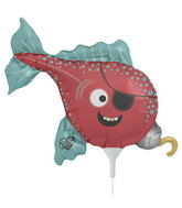 "14"" Pirate Fish Airfill Balloon Includes Cup and Stick."