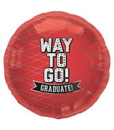 "18"" Foil Balloon Way To Go Red-Round"