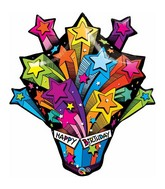 "35"" Shooting Stars Birthday Present Balloon"