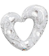 "42"" Hearts and Filigree Pearl White Balloon"
