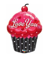 "35"" Love You Cupcake Jumbo Mylar Balloon"